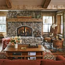 Decorations:Comfortable Arm Chairs And Rustic Outdoor Stone Fireplace Design  With Vegetation Surrounds Natural Textured