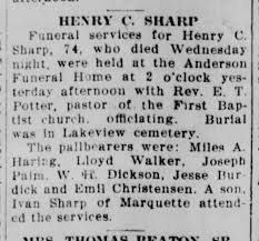 Henry Sharp obit Escanaba Daily Press, 18 May 1930 - Newspapers.com