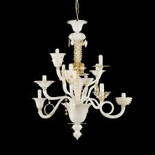 goblin l1075 10 wck chandelier white and gold leaf venetian style