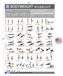 Body Fitness Chart Bodyweight Exercise Poster Total Body Fitness Laminated