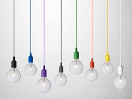 purple silicon pendant light with bulb