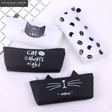 cat pencil case silica gel school supplies bts