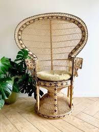 pea fan chair full size emmanuelle wicker chair 70 s southwestern bohemian woven rattan