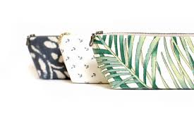 tropical print clutch personalized gift zippered pouch palm leaf print summer wedding makeup bag travel pouch pencil case coin purse uncoverly
