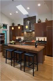 wood countertop on part of kitchen island