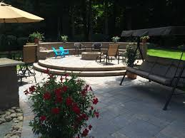 raised patio pavers. Raised Patio - Attractive Paver With Fire Pit Area And Sitting Wall Backrest Pavers