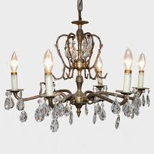 brass crystal eight light chandelier leaf form bobeches