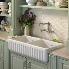 fireclay farmhouse sink. Fluted Apron Kitchen Sink ROHL - Shaws Original 2-Bowl Fireclay Farmhouse