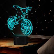 Us 1145 20 Off3d Led Bmx Nachtlampje 7 Kleuren Veranderen Fiets Vorm Usb Nachtkastje Lamp Bike Home Decor Slaapkamer Slaap Licht Armatuur Gift In