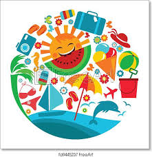 Summer Icons Free Art Print Of Summer Vacation Template Of Summer Icons