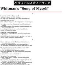 answer the question being asked about song of myself essay emily dickinson and walt whitman dissimilar poets establish unique writing style through the use of various images and symbols whitman attempts to outline