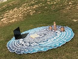 round mandala beach towel tapestry blue round beach throw blanket indian cotton large tapestry hippie mandala table cloth gift circle bohemian