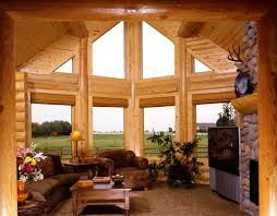 fabulous log home interior decorating idea for living room with