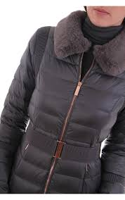 ted baker womens yelta faux fur collar down jacket grey