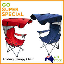 folding canopy chair w sun shade canopy top beach outdoor camping foldable seat