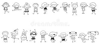 Gruppo Di Bambini Schizzo Di Disegno Illustrazioni Vettoriali E
