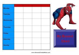 Spiderman Reward Chart Spiderman Behavior Charts