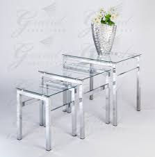 glass nest of tables 3 coffee side coffee lamp table set living room furniture co uk kitchen home