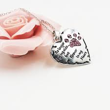 pink crystal dogs paws claw print heart necklace