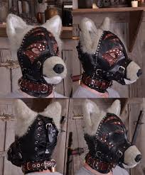 leather and faux fur puppy mask