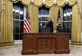 oval office resolute desk. President Donald Trump Walks Around The Resolute Desk During A Ceremony In Oval Office Of R