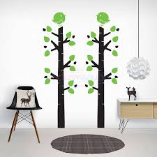 large tree wall decal birch tree and bird wall sticker multiple colours available