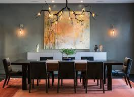 contemporary dining room by Kaufman Segal Design (love the lighting)
