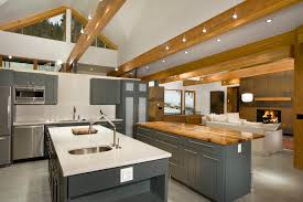 lighting for beams. Faux-ceiling-beams-Kitchen-Contemporary-with-Breckenridge-ceiling-lighting -contemporary-double-islands-exposed Lighting For Beams