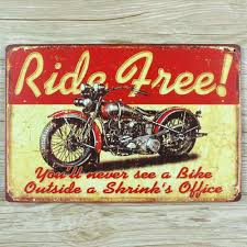 home decor plate x: ride free motorcycle quot vintage home decor beer metal tin signs decorative plaques for bar quot