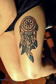 Dream Catcher Tattoo On Thigh Dreamcatcher Tattoos for a Good Night Sleep 15