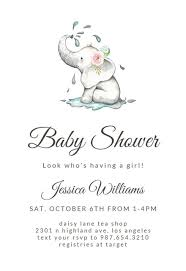 Baby Shower Invite Text Elegant Elephant Baby Shower Invitation Template Free