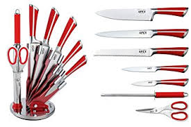 Amazoncom VonShef 9 Piece Assorted Kitchen Knife Carry Set With Professional Kitchen Knives