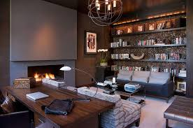 luxury home office desks. Office:Deluxe Luxury Home Office Ideas With Brown Cabinets And Led Tv Black Leather Desks