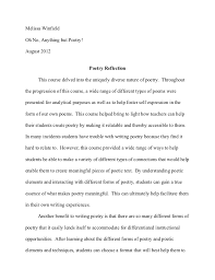 poetry reflection paper poetry reflection paper melissa winfieldoh no anything but poetry