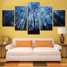 home decor canvas prints posters 5 pieces forest with bule starry sky paintings living room wall