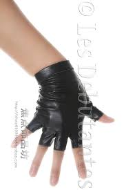 women brief semi finger genuine leather sheepskin gloves black punk motorcycle fingerless leather gloves