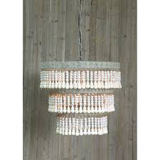 3r studio white three light round metal and wood beaded chandelier