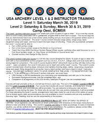 Bsa Registration Fee Chart 2019 Archery Level 2 Course