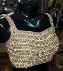 Pearl Designer Blouses Online Pearl Crystals Dark Gold Bead Blouse Party Wear Blouse