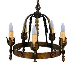 classic five light antique spanish revival chandelier at