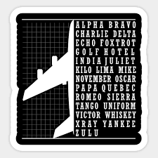 The most widely used spelling alphabet is the nato phonetic alphabet, which is also used in aviation like in communication between a pilot and the control tower. Phonetic Alphabet Airplane Pilot Flying Aviation Phonetic Alphabet Airplane Sticker Teepublic