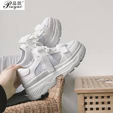 Leather Mesh Women's <b>Platform Chunky</b> Sneakers <b>2018 Fashion</b> ...
