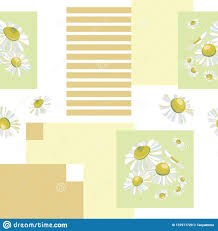 Light Yellow Bandana Geometric Patchwork Seamless Pattern With White Daisies