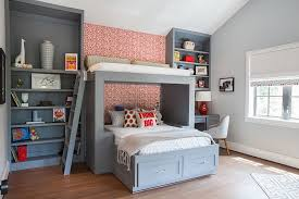 Superior Cool Gray Boys Bedroom Design And Custom Bunk Bed With Shelves And Red  Accent Wall Decor And Corner Desk With Chair And King Size Platform Bed  Frame With ...