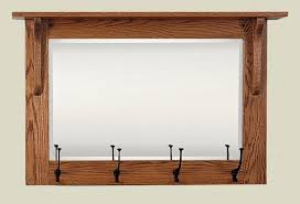 Unfinished Coat Rack Mission Wall Mirror with Coat Rack from DutchCrafters Amish Furniture 56