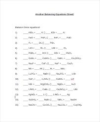 balancing chemical equations worksheet sample balancing equations worksheet templates 9 free doents