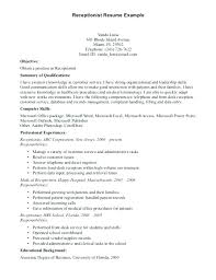Resume Objective For It Job Simple Receptionist Sample Resume Job Description Resume Samples Photo 48 Of