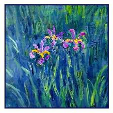 impressionist monet s irises from giverny counted cross stitch pattern