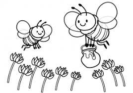 ぬりえ素材みつばちとレンゲの花 イラスト無料かわいいテンプレート