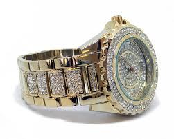 men s faux diamond hiphop bling watch bracelet set gold plated men s faux diamond hiphop bling watch bracelet set gold